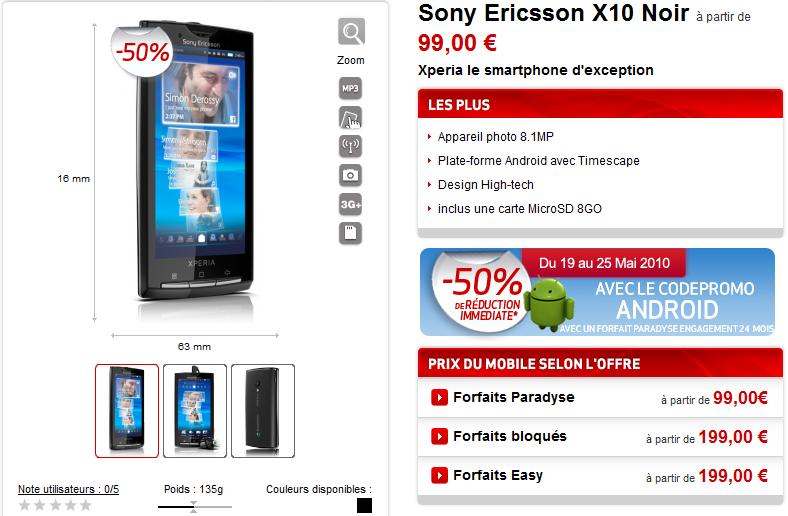 Sony Ericsson Xperia X10 à 49,50 € en promotion chez Virgin Mobile