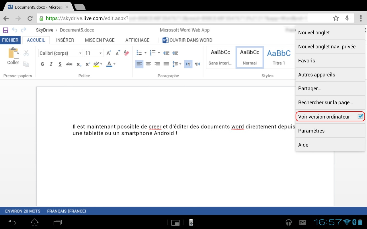 Edition d'un document Office depuis Chrome pour Android