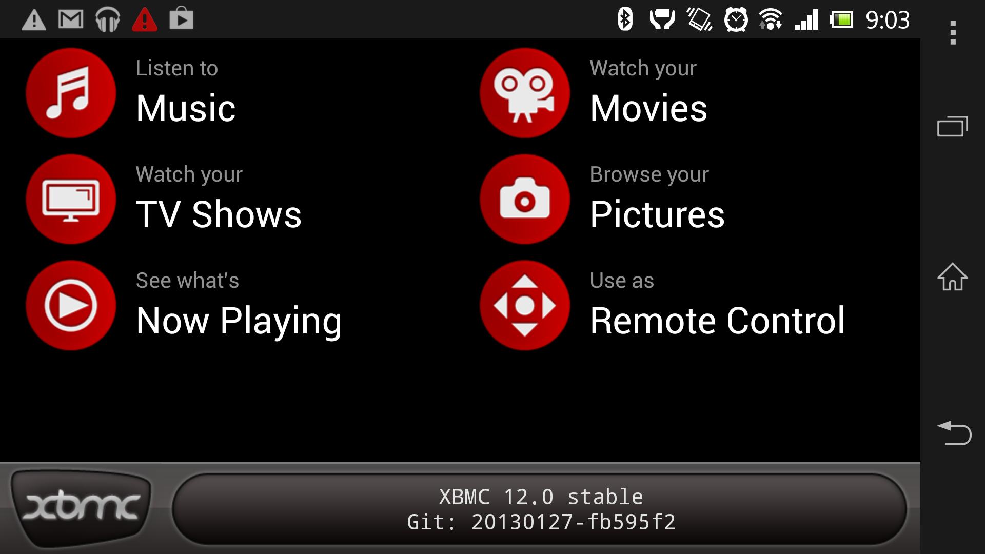 Ecran d'accueil XBMC Remote