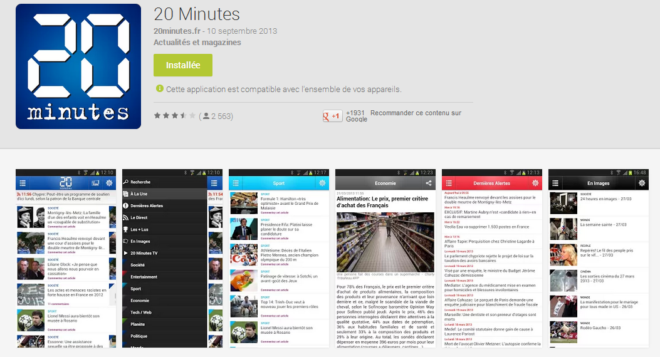 20 Minutes pour Android