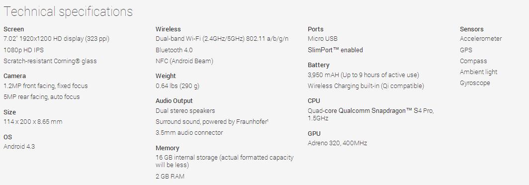 Caractéristiques Google Nexus 7 2013 (ASUS)