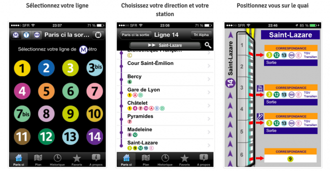 Paris ci la sortie du métro (Android, iOS et Windows Phone)