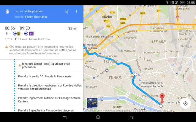 Google Maps indique les sorties de métro