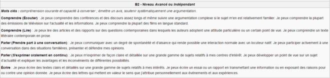 Niveau B2 - Avancé