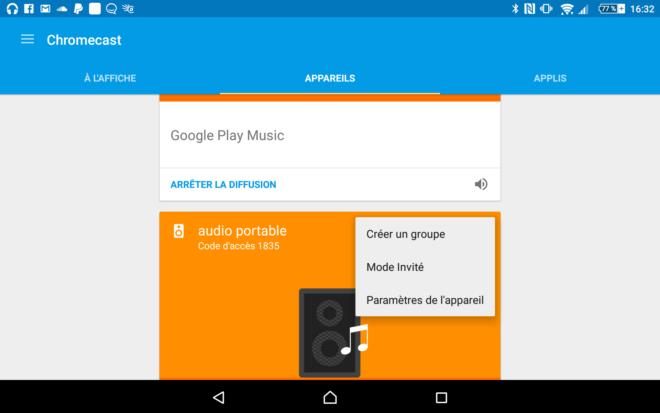 Créer un groupe de Chromecast audio depuis l'application Chromecast